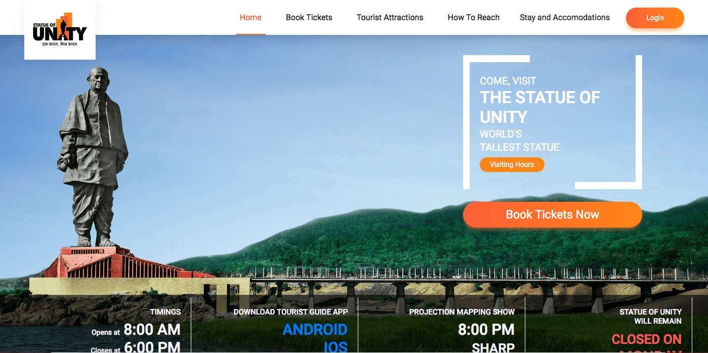 Statue of Unity Ticket Booking